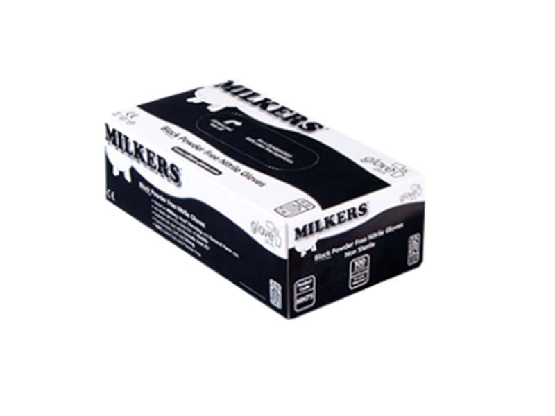 MILKERS BLACK NITRILE GLOVES - BOX 100